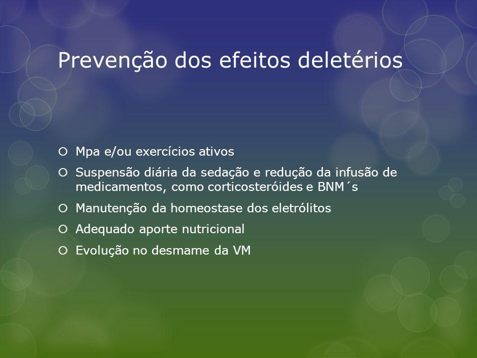 Prevenção dos efeitos deletérios  Mpa e/ou exercícios ativos  Suspensão diária da sedação e redução da infusão de medicamentos, como corticosteróide