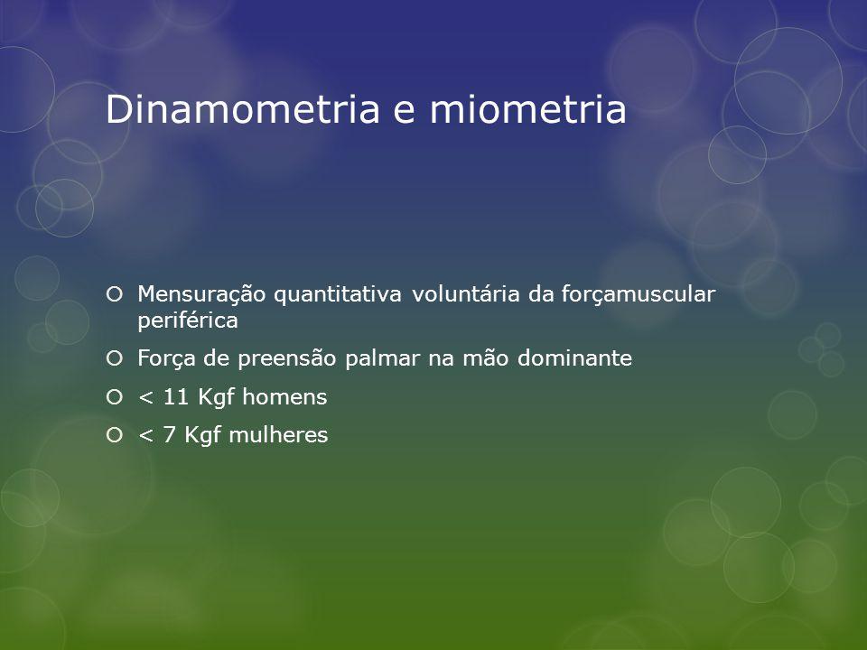 Dinamometria e miometria  Mensuração quantitativa voluntária da forçamuscular periférica  Força de preensão palmar na mão dominante  < 11 Kgf homen