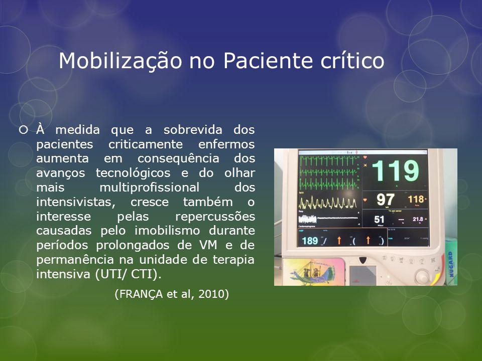 Mobilização no Paciente crítico  À medida que a sobrevida dos pacientes criticamente enfermos aumenta em consequência dos avanços tecnológicos e do o