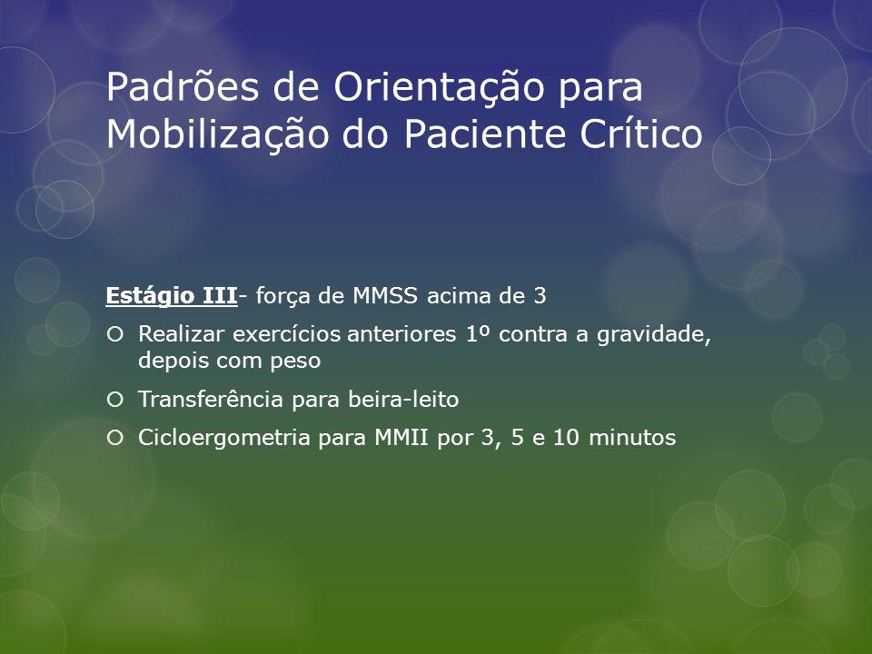 Padrões de Orientação para Mobilização do Paciente Crítico Estágio III- força de MMSS acima de 3  Realizar exercícios anteriores 1º contra a gravidad