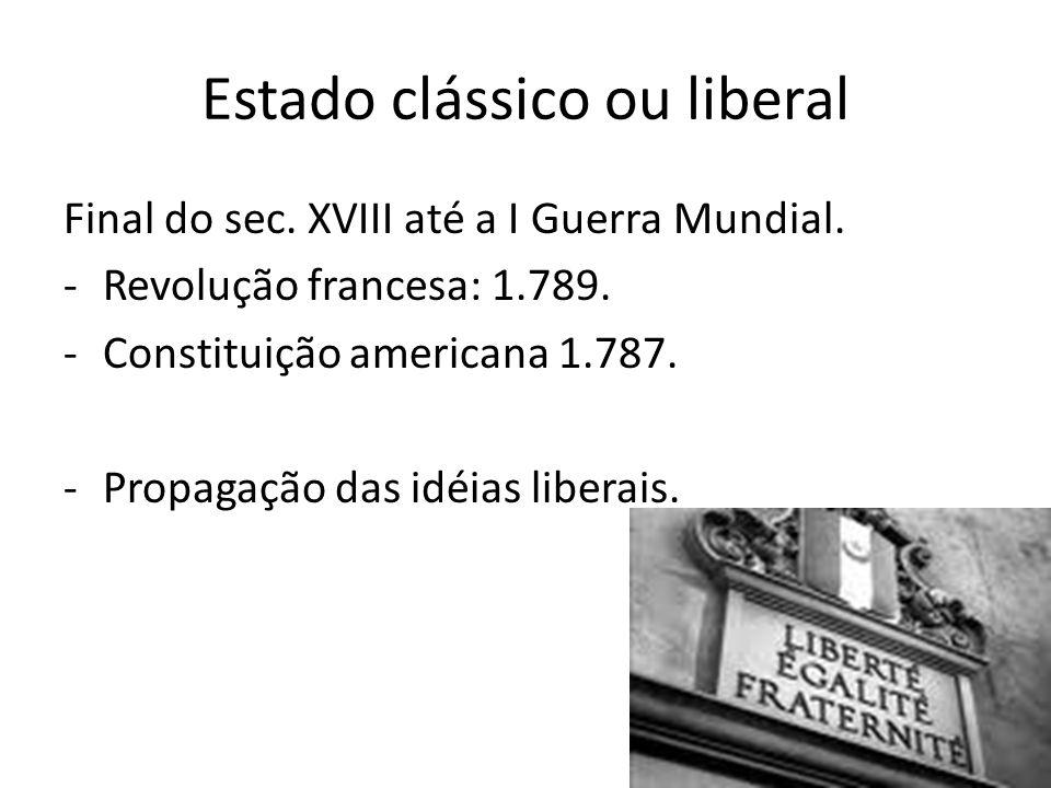 Estado clássico ou liberal Final do sec.XVIII até a I Guerra Mundial.