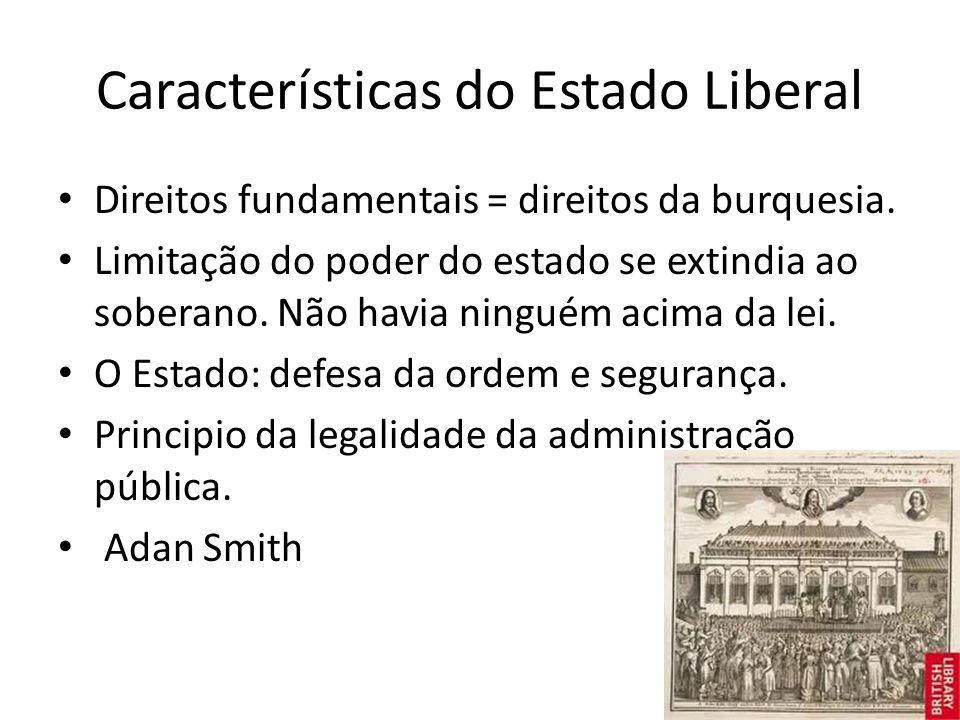 Características do Estado Liberal Direitos fundamentais = direitos da burquesia.