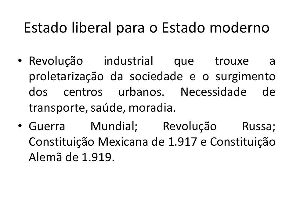 Estado liberal para o Estado moderno Revolução industrial que trouxe a proletarização da sociedade e o surgimento dos centros urbanos.