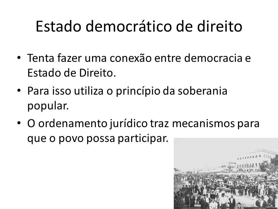 Estado democrático de direito Tenta fazer uma conexão entre democracia e Estado de Direito.