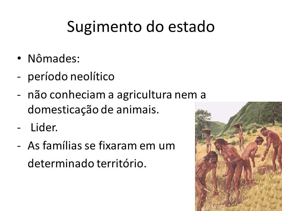 Sugimento do estado Nômades: -período neolítico -não conheciam a agricultura nem a domesticação de animais.