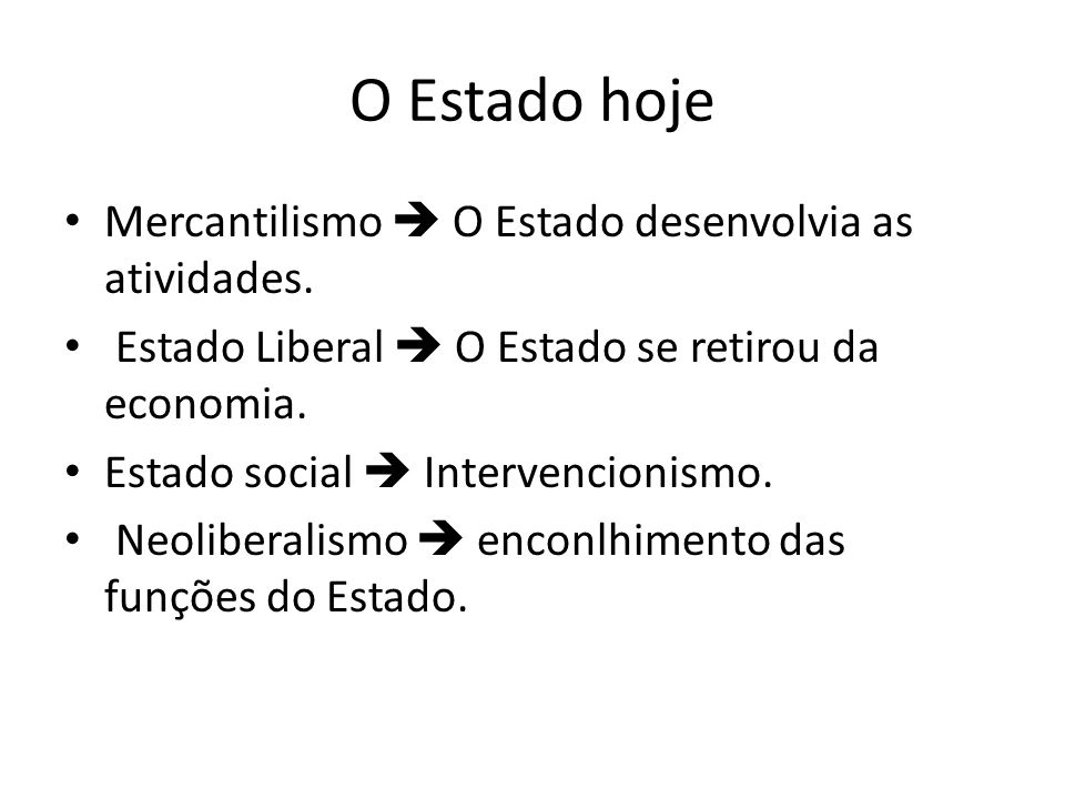 O Estado hoje Mercantilismo  O Estado desenvolvia as atividades.
