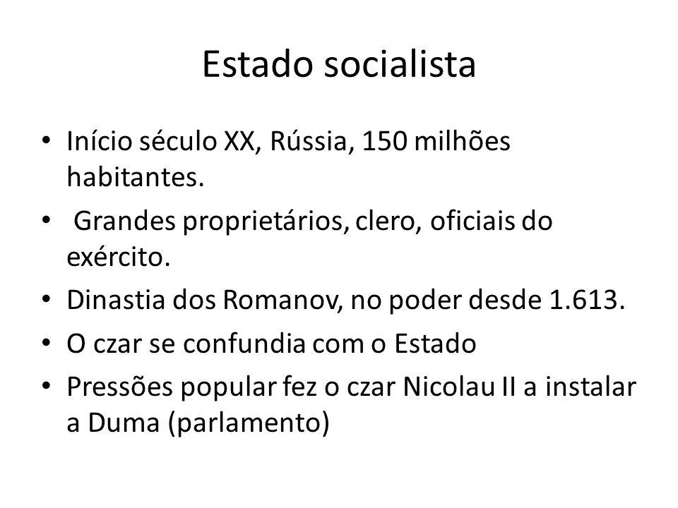 Estado socialista Início século XX, Rússia, 150 milhões habitantes.