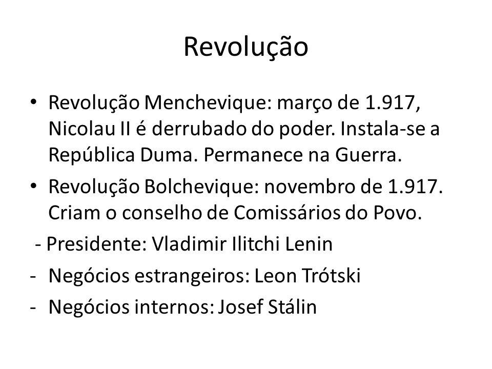Revolução Revolução Menchevique: março de 1.917, Nicolau II é derrubado do poder.