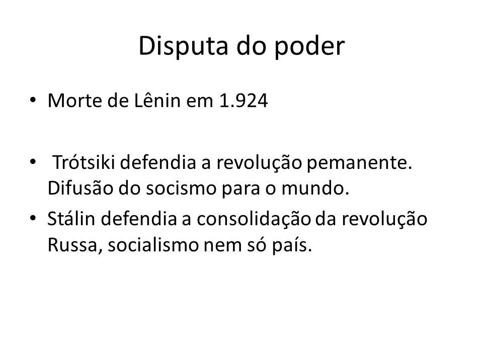Disputa do poder Morte de Lênin em 1.924 Trótsiki defendia a revolução pemanente.