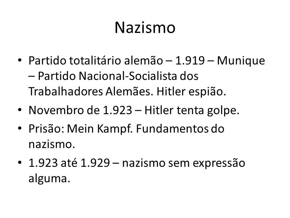 Nazismo Partido totalitário alemão – 1.919 – Munique – Partido Nacional-Socialista dos Trabalhadores Alemães.