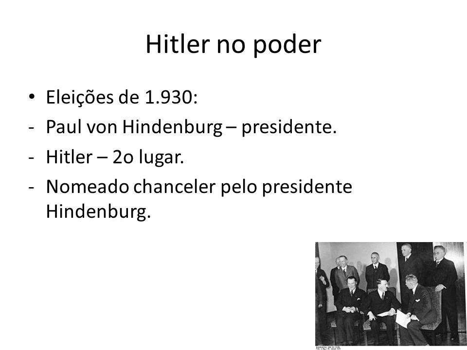 Hitler no poder Eleições de 1.930: -Paul von Hindenburg – presidente.