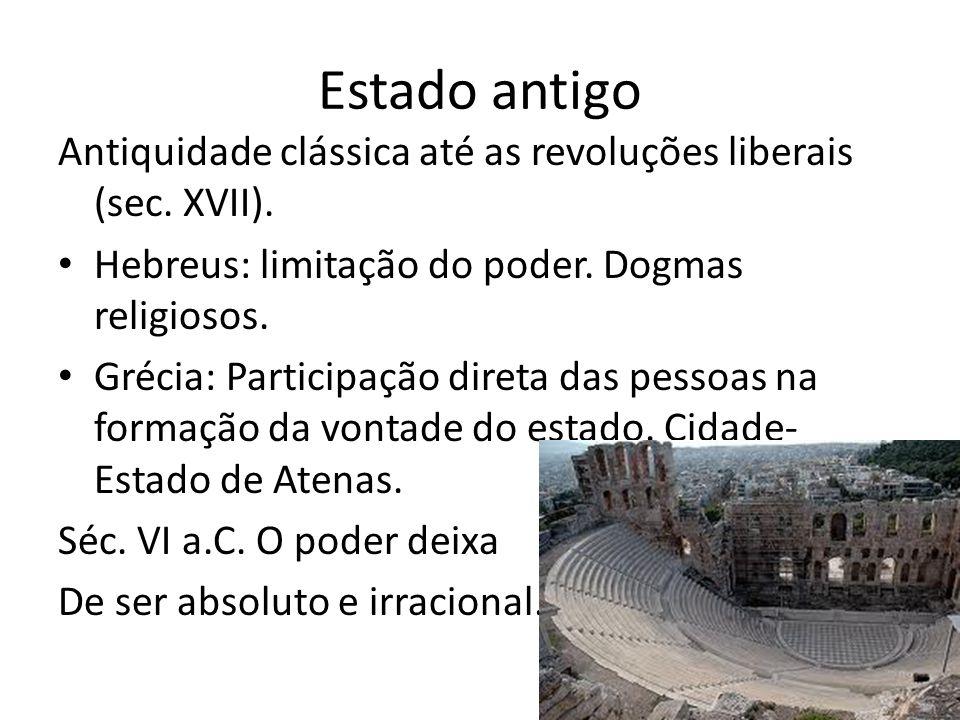 Estado antigo Antiquidade clássica até as revoluções liberais (sec.