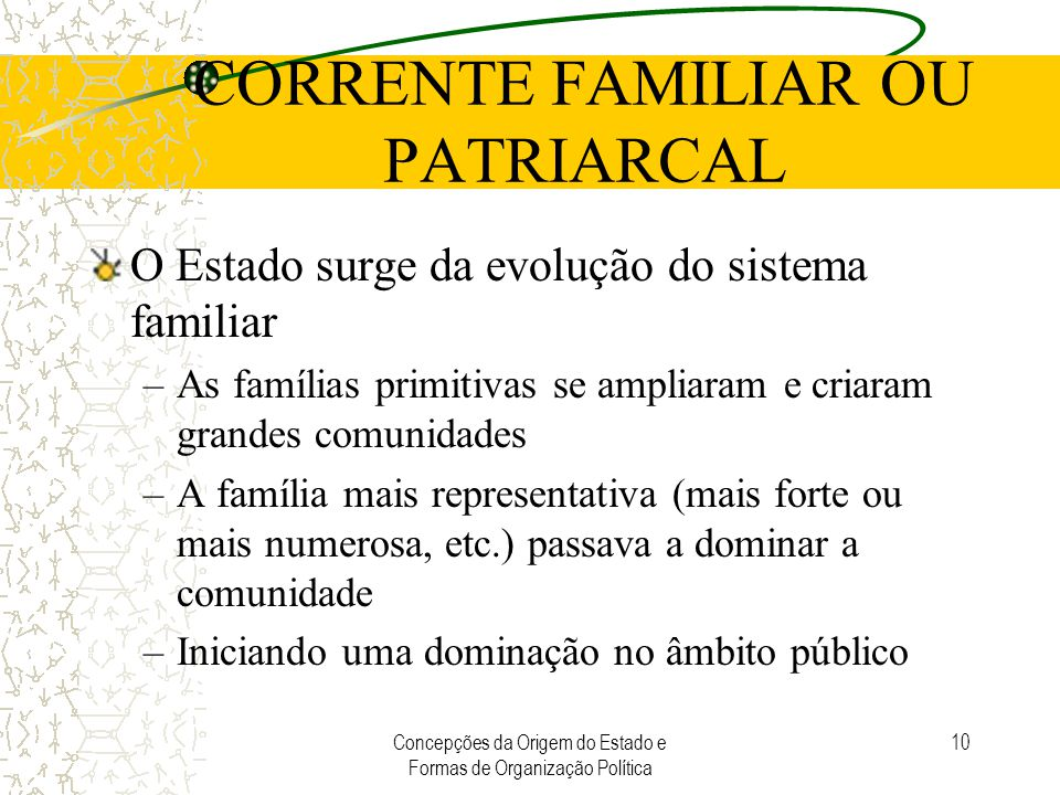 Concepções da Origem do Estado e Formas de Organização Política 10 CORRENTE FAMILIAR OU PATRIARCAL O Estado surge da evolução do sistema familiar –As