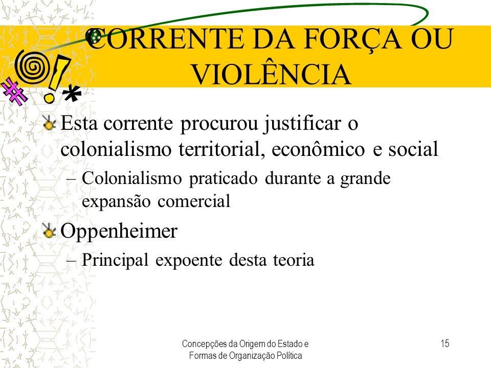 Concepções da Origem do Estado e Formas de Organização Política 15 CORRENTE DA FORÇA OU VIOLÊNCIA Esta corrente procurou justificar o colonialismo ter