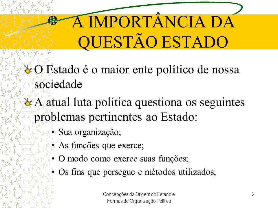 Concepções da Origem do Estado e Formas de Organização Política 2 A IMPORTÂNCIA DA QUESTÃO ESTADO O Estado é o maior ente político de nossa sociedade