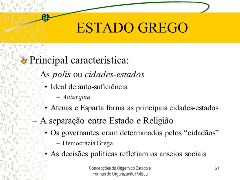 Concepções da Origem do Estado e Formas de Organização Política 27 ESTADO GREGO Principal característica: –As polis ou cidades-estados Ideal de auto-s