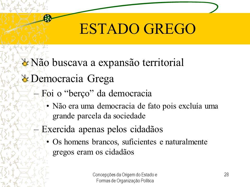 """Concepções da Origem do Estado e Formas de Organização Política 28 ESTADO GREGO Não buscava a expansão territorial Democracia Grega –Foi o """"berço"""" da"""