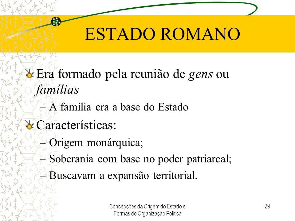 Concepções da Origem do Estado e Formas de Organização Política 29 ESTADO ROMANO Era formado pela reunião de gens ou famílias –A família era a base do