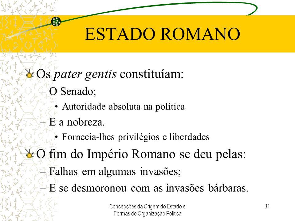 Concepções da Origem do Estado e Formas de Organização Política 31 ESTADO ROMANO Os pater gentis constituíam: –O Senado; Autoridade absoluta na políti