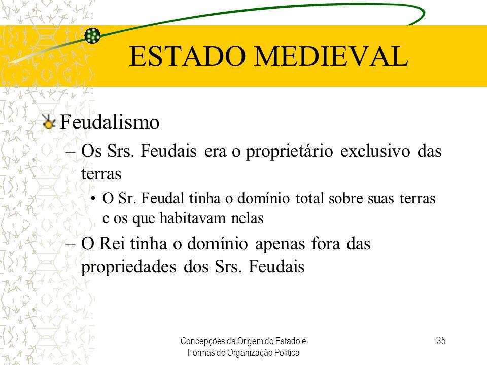 Concepções da Origem do Estado e Formas de Organização Política 35 ESTADO MEDIEVAL Feudalismo –Os Srs. Feudais era o proprietário exclusivo das terras