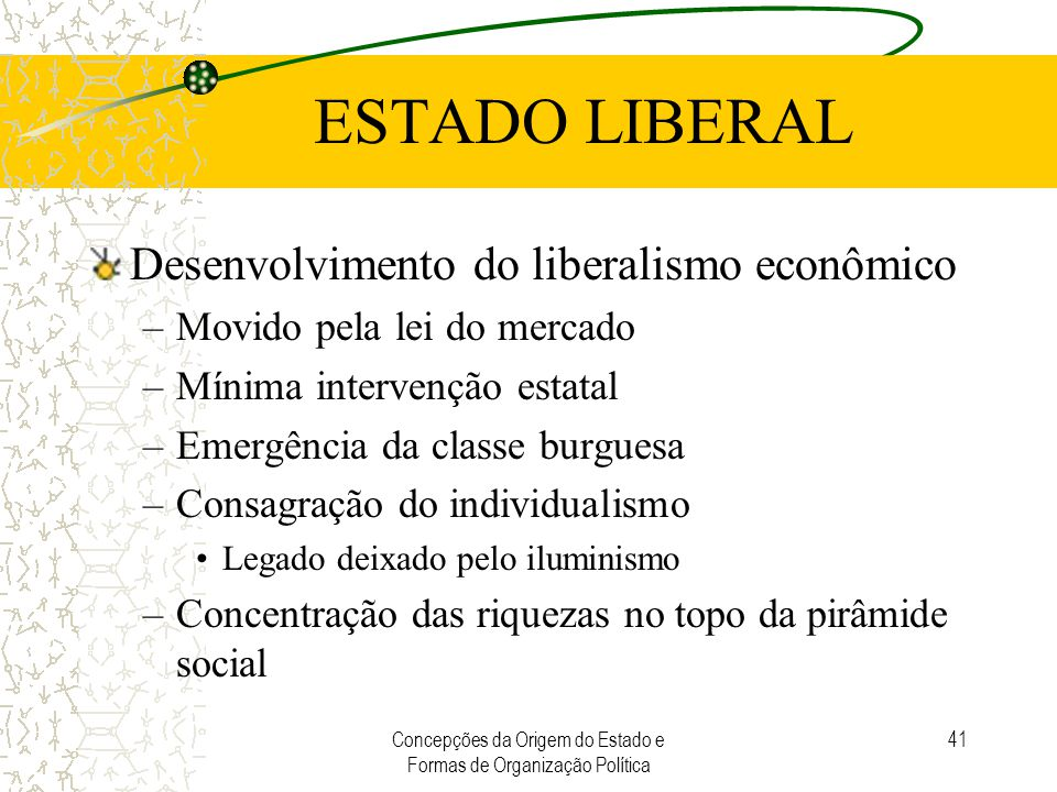 Concepções da Origem do Estado e Formas de Organização Política 41 ESTADO LIBERAL Desenvolvimento do liberalismo econômico –Movido pela lei do mercado