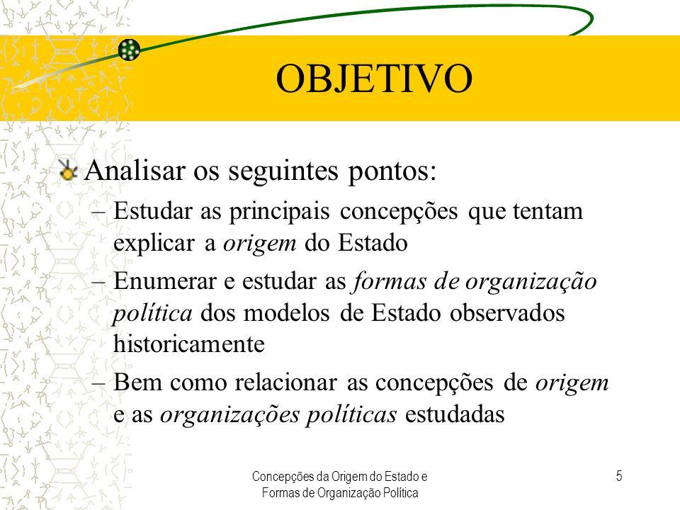 Concepções da Origem do Estado e Formas de Organização Política 5 OBJETIVO Analisar os seguintes pontos: –Estudar as principais concepções que tentam