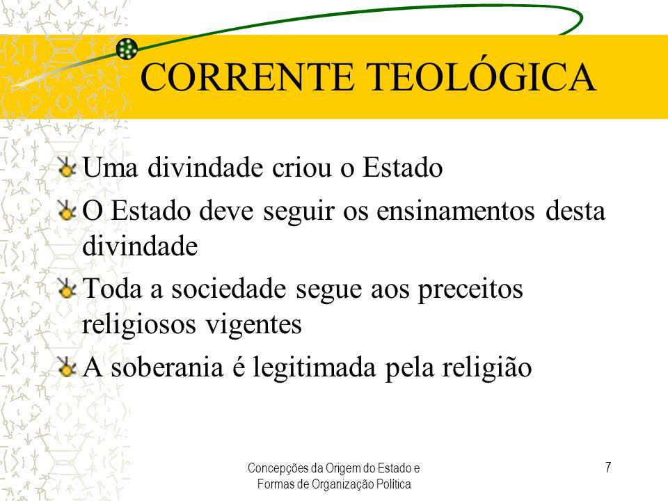 Concepções da Origem do Estado e Formas de Organização Política 7 CORRENTE TEOLÓGICA Uma divindade criou o Estado O Estado deve seguir os ensinamentos