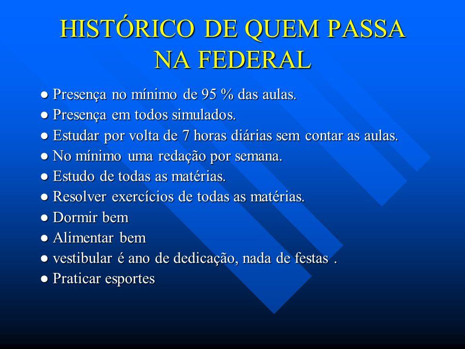 HISTÓRICO DE QUEM PASSA NA FEDERAL ● Presença no mínimo de 95 % das aulas.