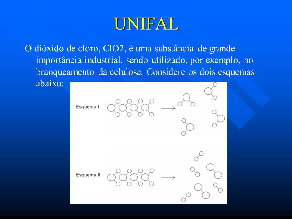 UNIFAL O dióxido de cloro, ClO2, é uma substância de grande importância industrial, sendo utilizado, por exemplo, no branqueamento da celulose.