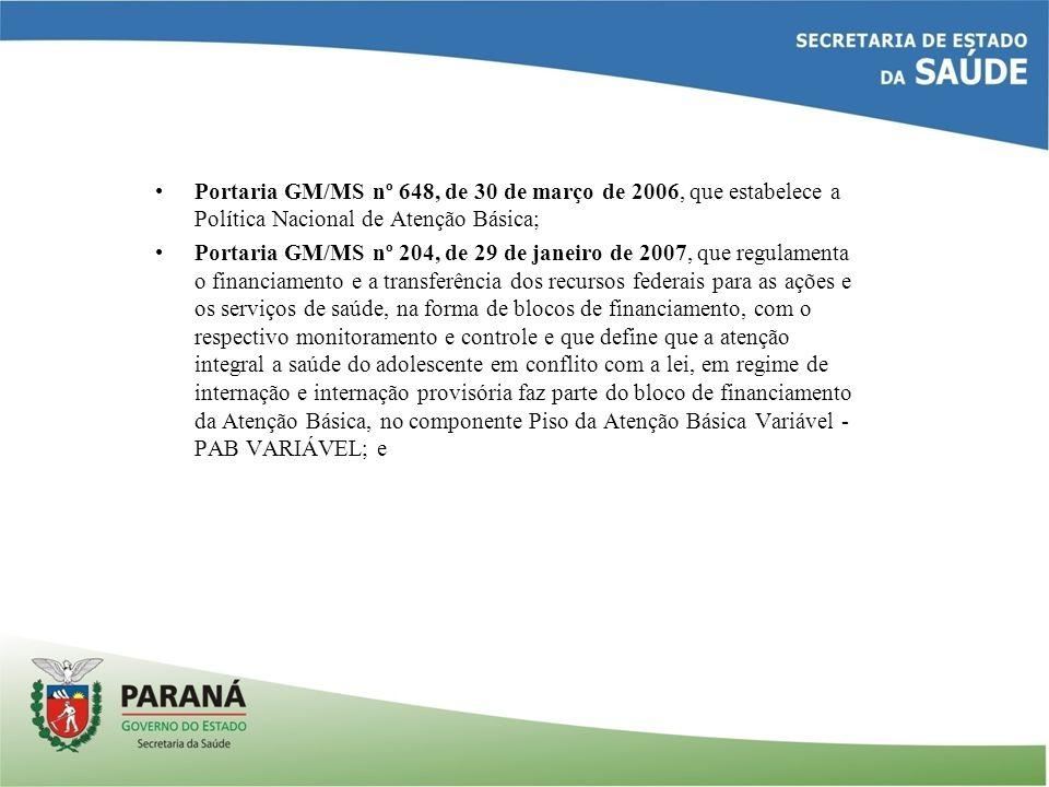 Portaria GM/MS nº 648, de 30 de março de 2006, que estabelece a Política Nacional de Atenção Básica; Portaria GM/MS nº 204, de 29 de janeiro de 2007,