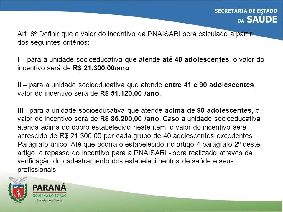 Art. 8º Definir que o valor do incentivo da PNAISARI será calculado a partir dos seguintes critérios: I – para a unidade socioeducativa que atende até