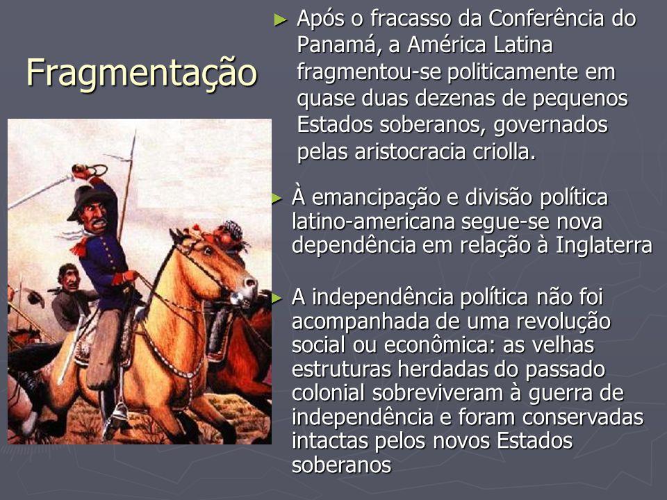 Fragmentação ► Após o fracasso da Conferência do Panamá, a América Latina fragmentou-se politicamente em quase duas dezenas de pequenos Estados sobera