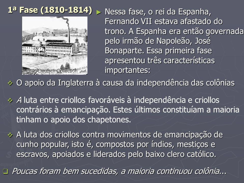 2ª Fase (1815 – 1824)  A Inglaterra, em 1815, durante o Congresso de Viena, por causa da aliança com a Espanha na Europa, retirou, oficialmente, seu apoio à causa pela independência das colônias hispano-americanas; contudo, em 1817, por causa de sua grande produção industrial, voltou a apoiar publicamente a independência dessas colônias.