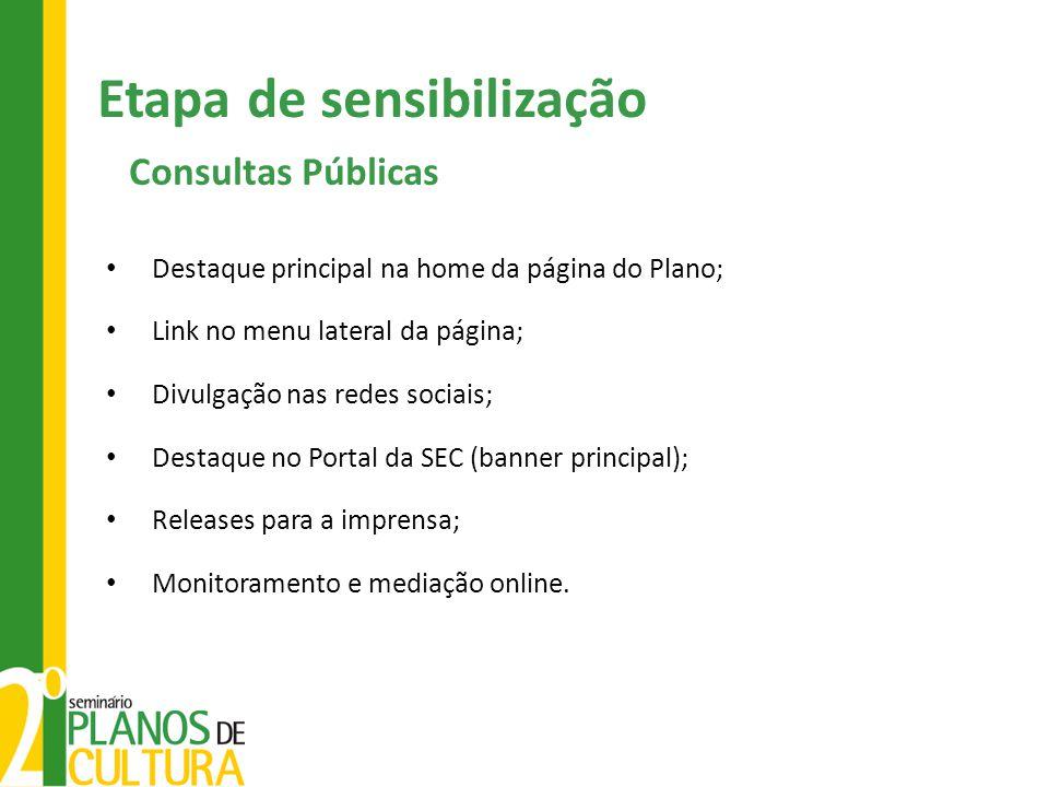 Etapa de sensibilização Consultas Públicas Destaque principal na home da página do Plano; Link no menu lateral da página; Divulgação nas redes sociais