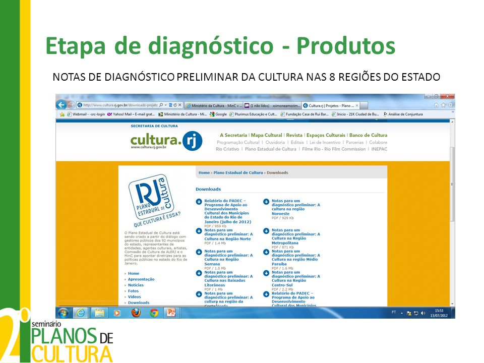 NOTAS DE DIAGNÓSTICO PRELIMINAR DA CULTURA NAS 8 REGIÕES DO ESTADO Etapa de diagnóstico - Produtos