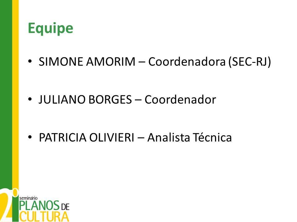 Equipe SIMONE AMORIM – Coordenadora (SEC-RJ) JULIANO BORGES – Coordenador PATRICIA OLIVIERI – Analista Técnica