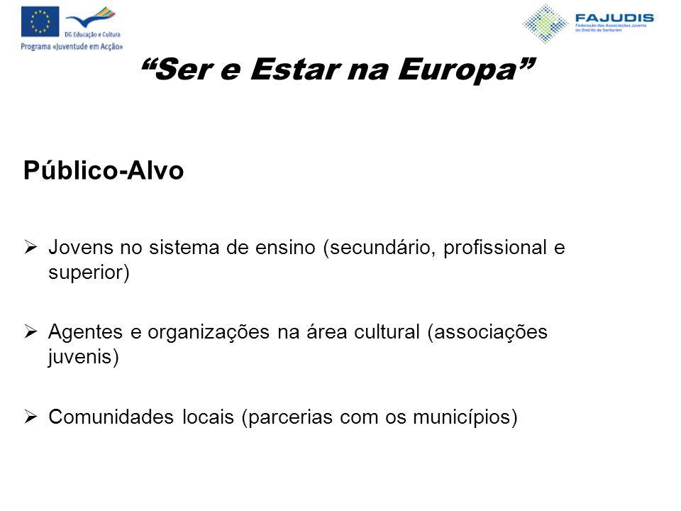 Ser e Estar na Europa Público-Alvo  Jovens no sistema de ensino (secundário, profissional e superior)  Agentes e organizações na área cultural (associações juvenis)  Comunidades locais (parcerias com os municípios)