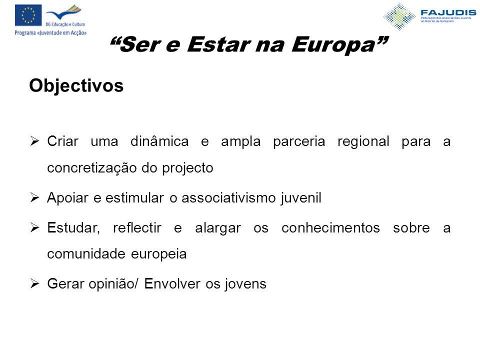Ser e Estar na Europa Objectivos  Criar uma dinâmica e ampla parceria regional para a concretização do projecto  Apoiar e estimular o associativismo juvenil  Estudar, reflectir e alargar os conhecimentos sobre a comunidade europeia  Gerar opinião/ Envolver os jovens