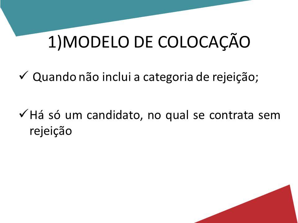 1)MODELO DE COLOCAÇÃO Quando não inclui a categoria de rejeição; Há só um candidato, no qual se contrata sem rejeição