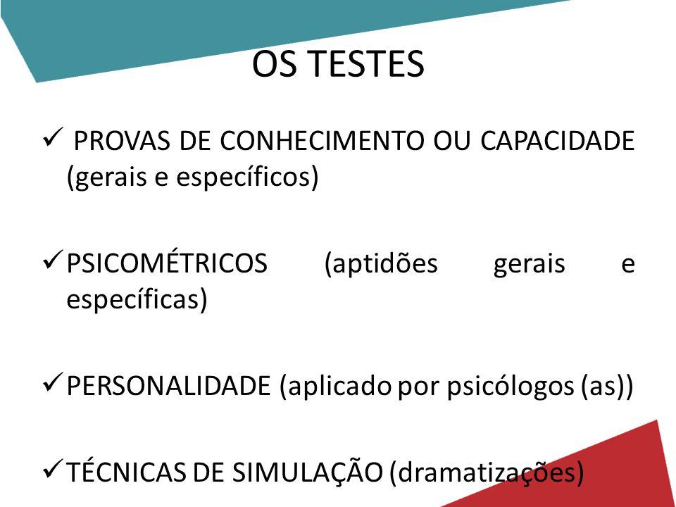 OS TESTES PROVAS DE CONHECIMENTO OU CAPACIDADE (gerais e específicos) PSICOMÉTRICOS (aptidões gerais e específicas) PERSONALIDADE (aplicado por psicólogos (as)) TÉCNICAS DE SIMULAÇÃO (dramatizações)