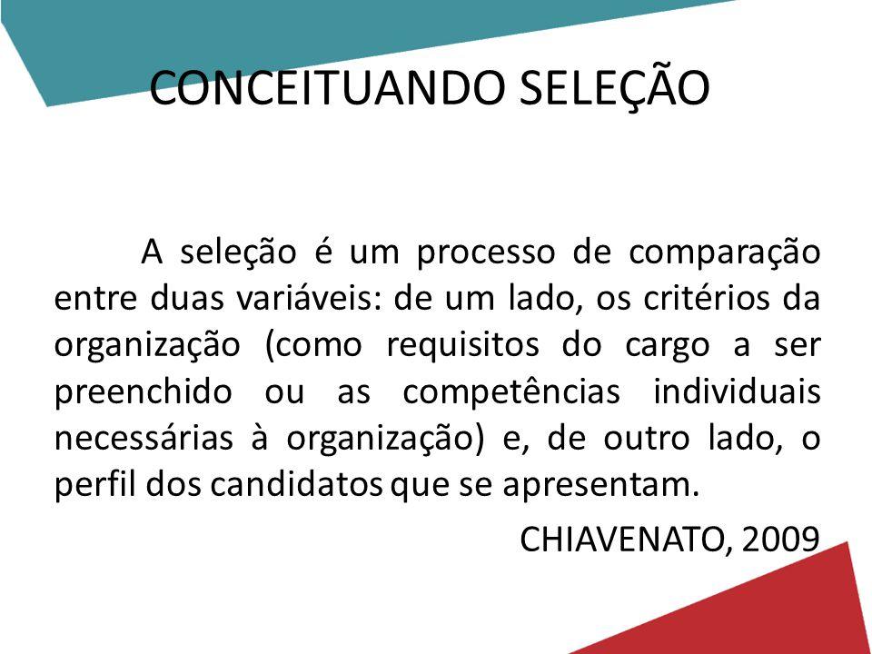 CONCEITUANDO SELEÇÃO A seleção é um processo de comparação entre duas variáveis: de um lado, os critérios da organização (como requisitos do cargo a ser preenchido ou as competências individuais necessárias à organização) e, de outro lado, o perfil dos candidatos que se apresentam.