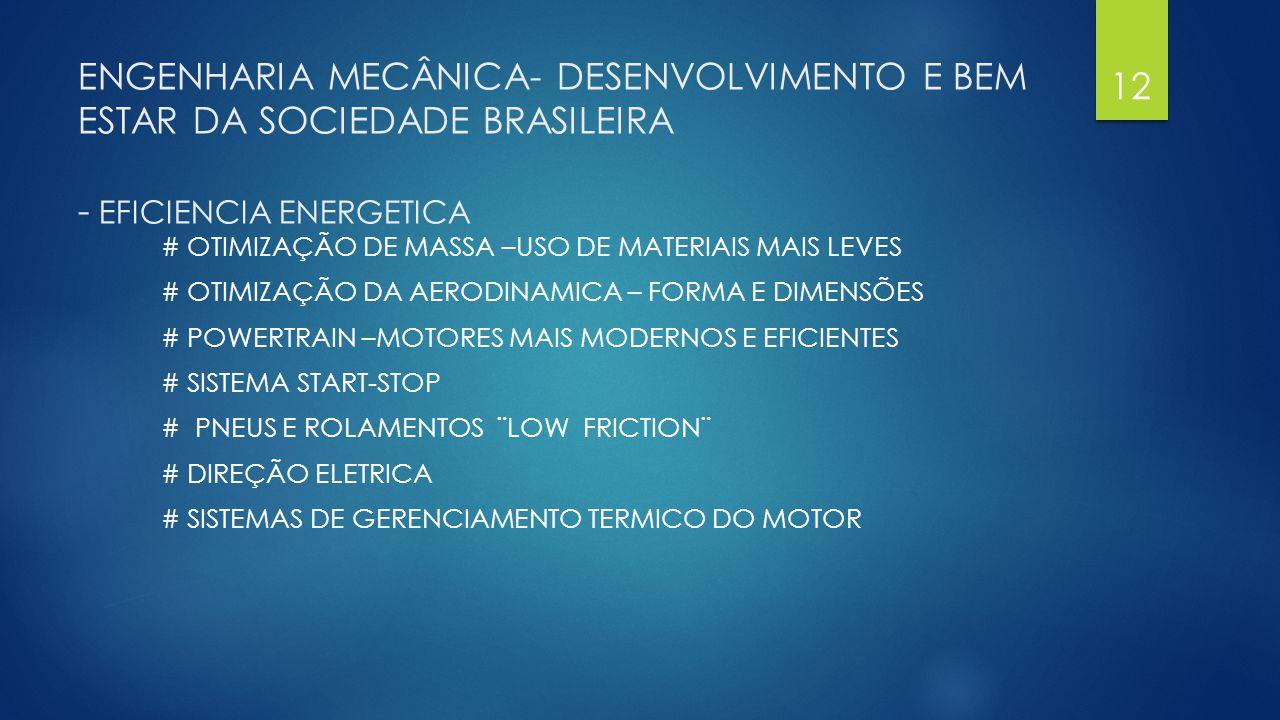 ENGENHARIA MECÂNICA- DESENVOLVIMENTO E BEM ESTAR DA SOCIEDADE BRASILEIRA - EFICIENCIA ENERGETICA # OTIMIZAÇÃO DE MASSA –USO DE MATERIAIS MAIS LEVES #