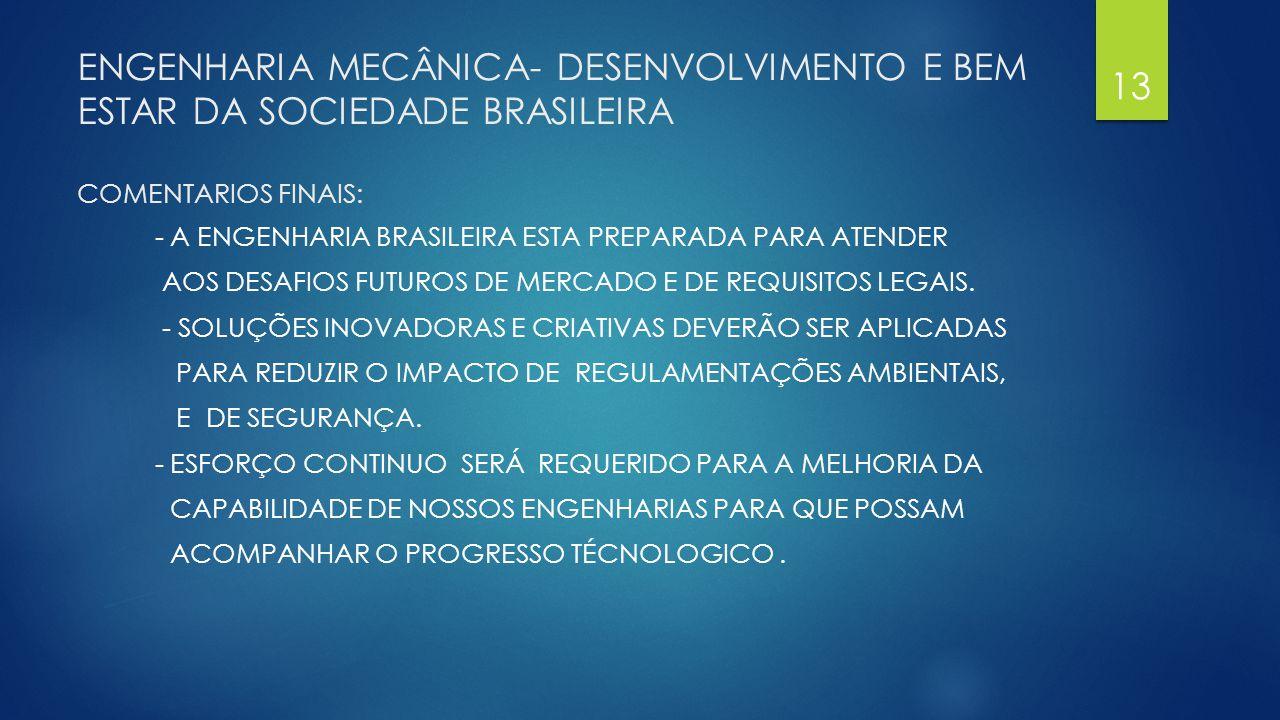 ENGENHARIA MECÂNICA- DESENVOLVIMENTO E BEM ESTAR DA SOCIEDADE BRASILEIRA COMENTARIOS FINAIS: - A ENGENHARIA BRASILEIRA ESTA PREPARADA PARA ATENDER AOS