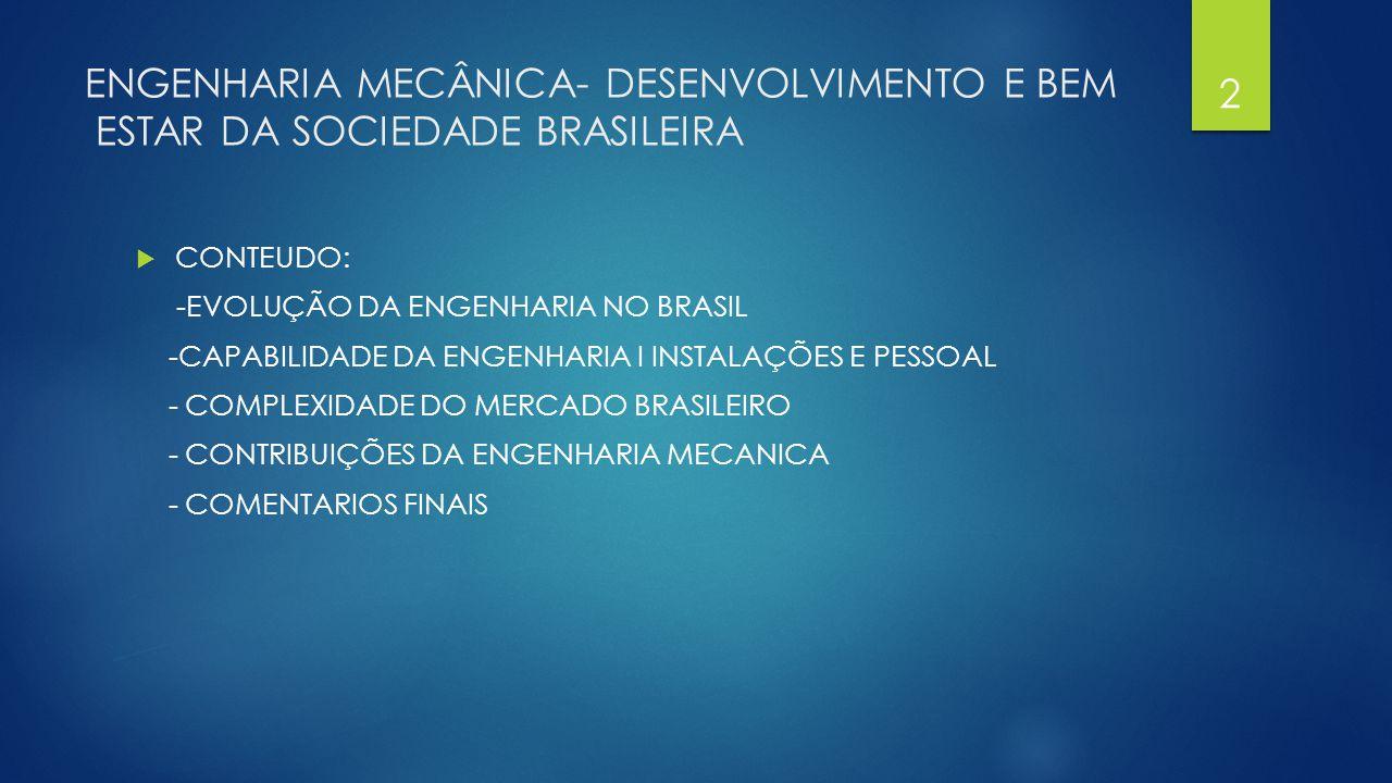 ENGENHARIA MECÂNICA- DESENVOLVIMENTO E BEM ESTAR DA SOCIEDADE BRASILEIRA  CONTEUDO: -EVOLUÇÃO DA ENGENHARIA NO BRASIL -CAPABILIDADE DA ENGENHARIA I I