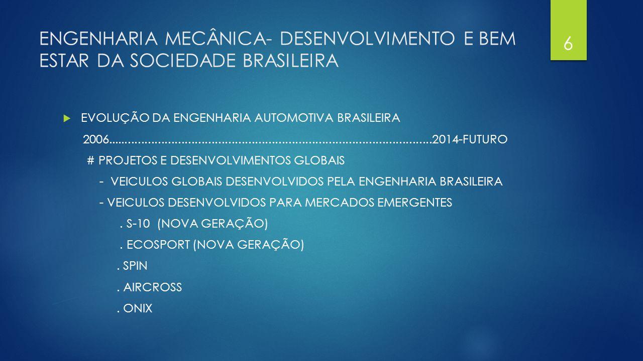 ENGENHARIA MECÂNICA- DESENVOLVIMENTO E BEM ESTAR DA SOCIEDADE BRASILEIRA  EVOLUÇÃO DA ENGENHARIA AUTOMOTIVA BRASILEIRA # INSTALAÇÕES - CENTROS DE PROJETO E DESENVOLVIMENTO - ENGENHARIA EXPERIMENTAL E CONSTRUÇÃO DE PROTOTIPOS - CAMPO DE PROVAS 7