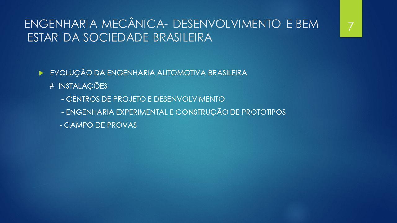 ENGENHARIA MECÂNICA – DESENVOLVIMENTO E BEM ESTAR DA SOCIEDADE BRASILEIRA  EVOLUÇÃO DA ENGENHARIA AUTOMOTIVA BRASILEIRA # PESSOAL - CRESCIMENTO DO QUADRO DE PESSOAL DE ENGENHARIA - ENGENHEIROS TREINADOS NO EXTERIOR - ENGENHEIROS PARTICIPANDO EM PROJETOS NO EXTERIOR - MESTRADO EM ENGENHARIA AUTOMOTIVA –MEA (POLI-USP) - CURSOS DE ESPECIALIZAÇÃO NO BRASIL (POLI-USP) - SIMPOSIOS E CONGRESSO (SAE) - CONVENIOS INDUSTRIA/ UNIVERSIDADES –PACE (POLI-USP / FEI) 8