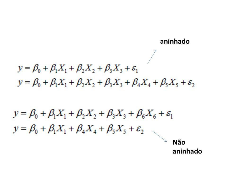 Comparação de modelos Modelos não aninhados (abordagem não estatística): – olhar coeficiente de determinação e R2 ajustado: saem do lado esquerdo da saída da regressão.