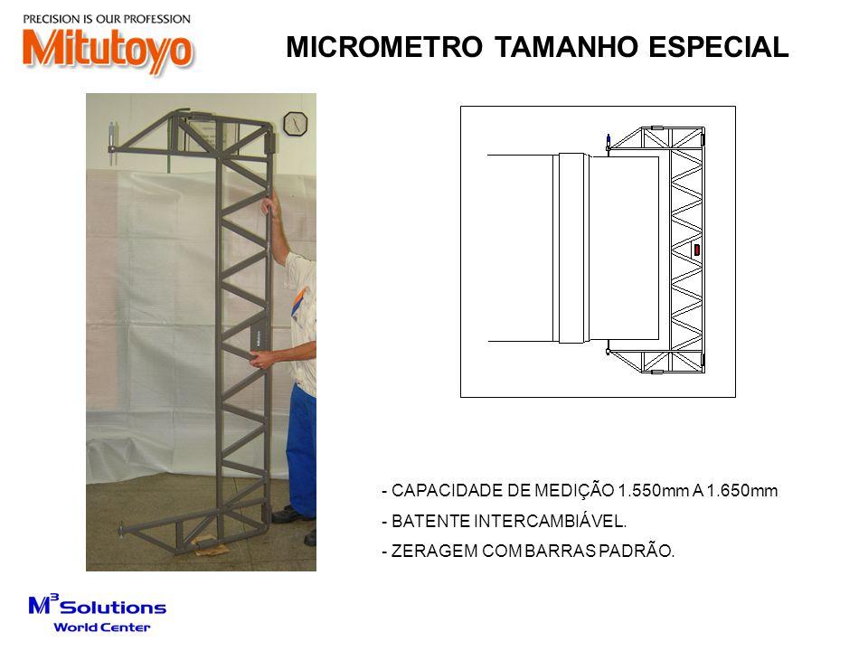 - CAPACIDADE DE MEDIÇÃO 1.550mm A 1.650mm - BATENTE INTERCAMBIÁVEL. - ZERAGEM COM BARRAS PADRÃO. MICROMETRO TAMANHO ESPECIAL