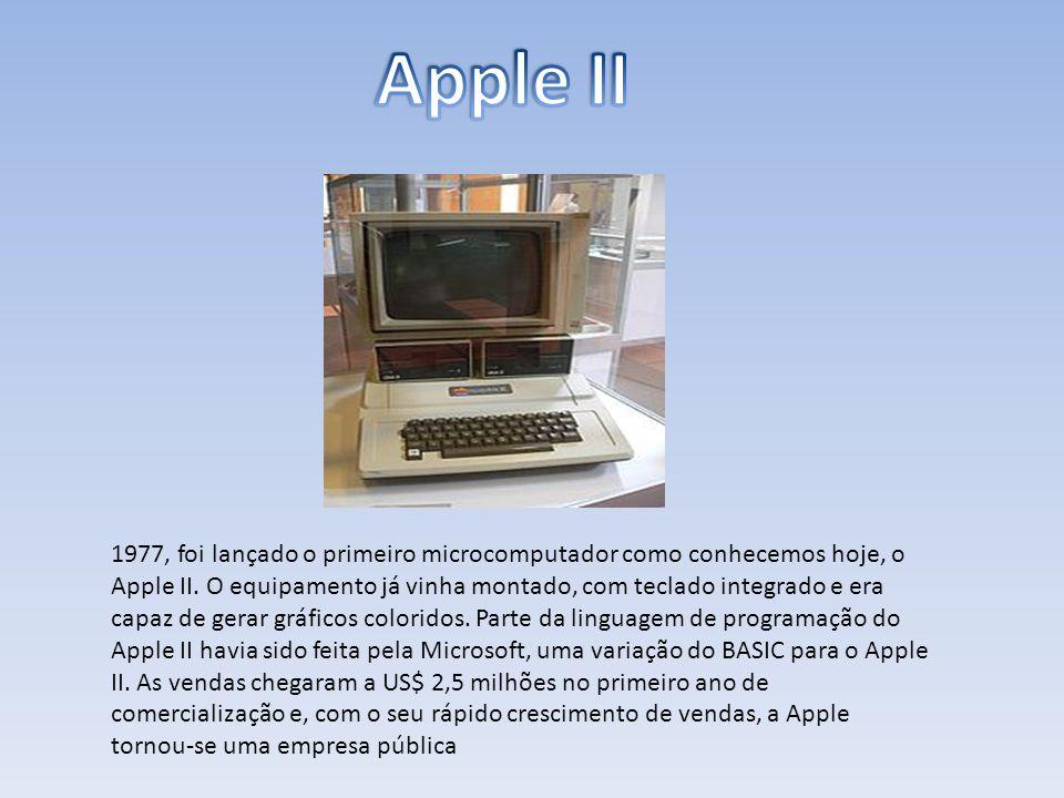 1977, foi lançado o primeiro microcomputador como conhecemos hoje, o Apple II. O equipamento já vinha montado, com teclado integrado e era capaz de ge