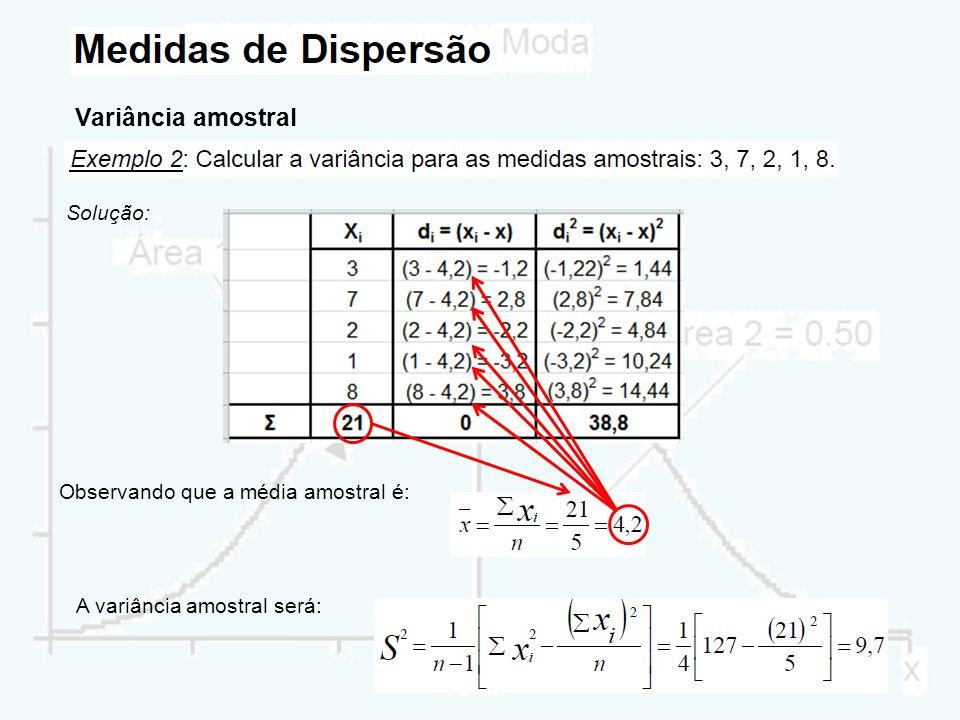 Variância amostral Solução: Observando que a média amostral é: A variância amostral será: